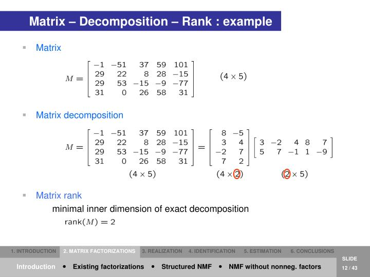 Matrix – Decomposition – Rank : example