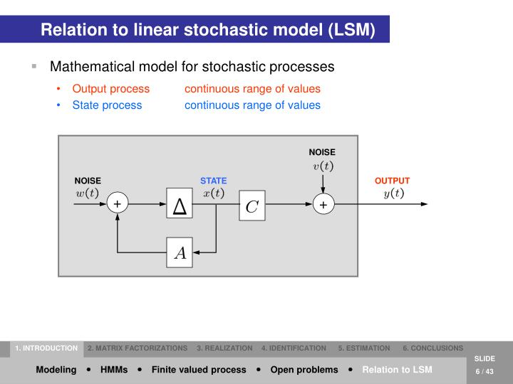 Relation to linear stochastic model (LSM)