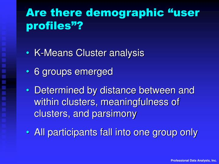 """Are there demographic """"user profiles""""?"""