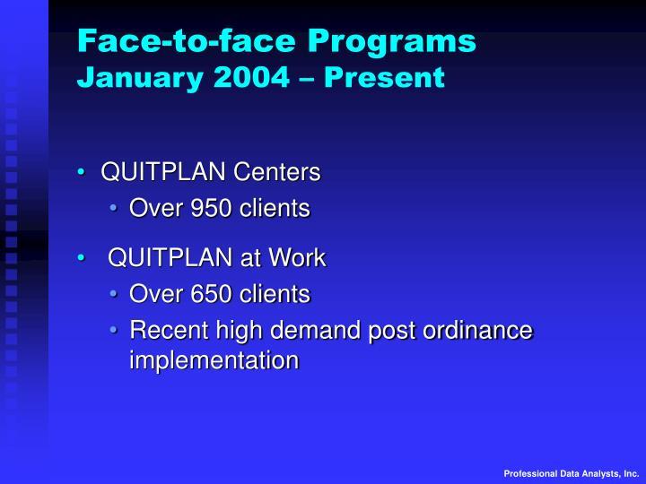 Face-to-face Programs