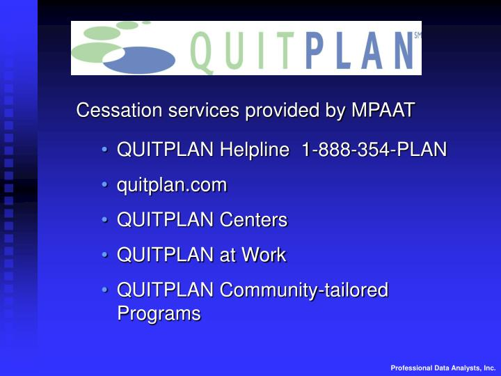 Cessation services provided by MPAAT