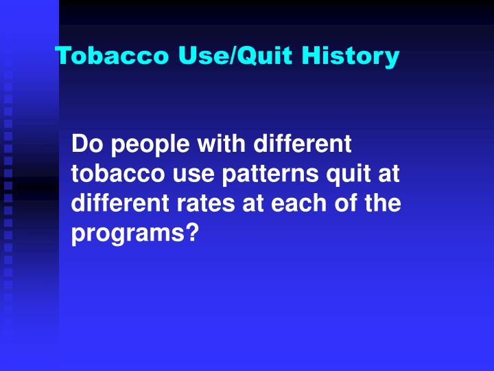 Do people with different tobacco use patterns quit at different rates at each of the programs?
