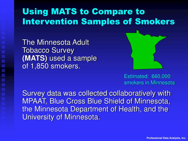 Using MATS to Compare to  Intervention Samples of Smokers
