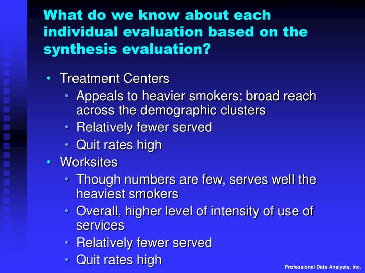 What do we know about each individual evaluation based on the synthesis evaluation?