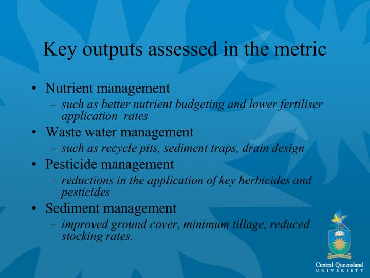 Key outputs assessed in the metric