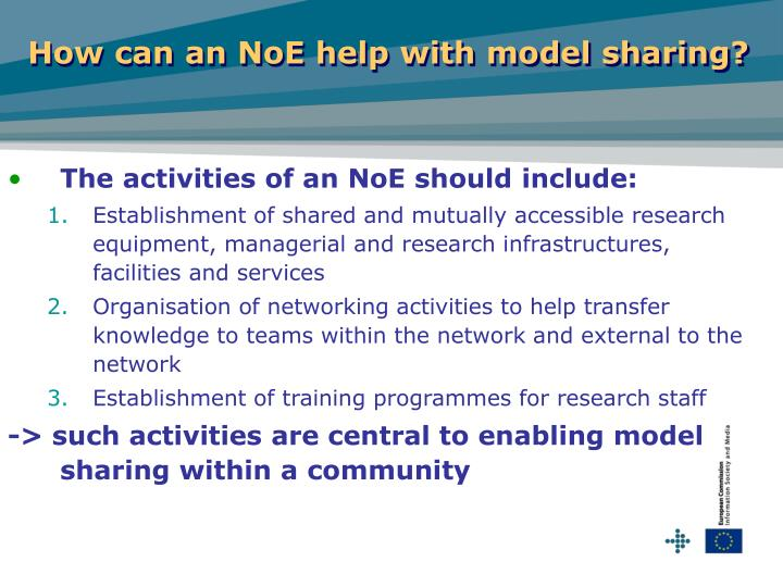 How can an NoE help with model sharing?