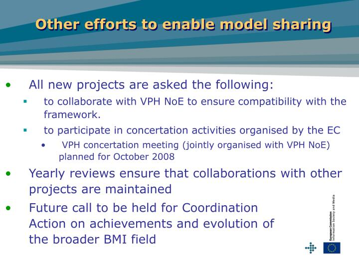Other efforts to enable model sharing