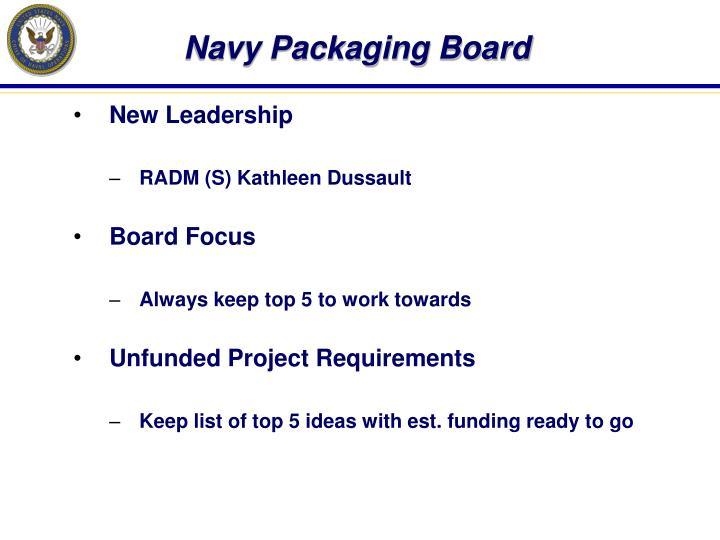 Navy Packaging Board