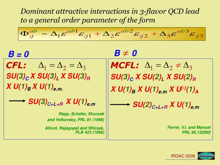 Dominant attractive interactions in 3-flavor QCD lead to a general order parameter of the form