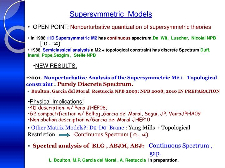 Supersymmetric  Models