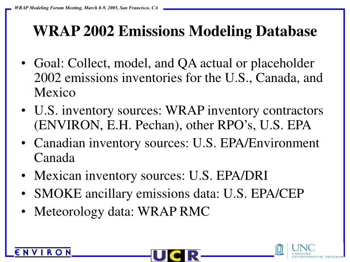 Goal: Collect, model, and QA actual or placeholder 2002 emissions inventories for the U.S., Canada, and Mexico