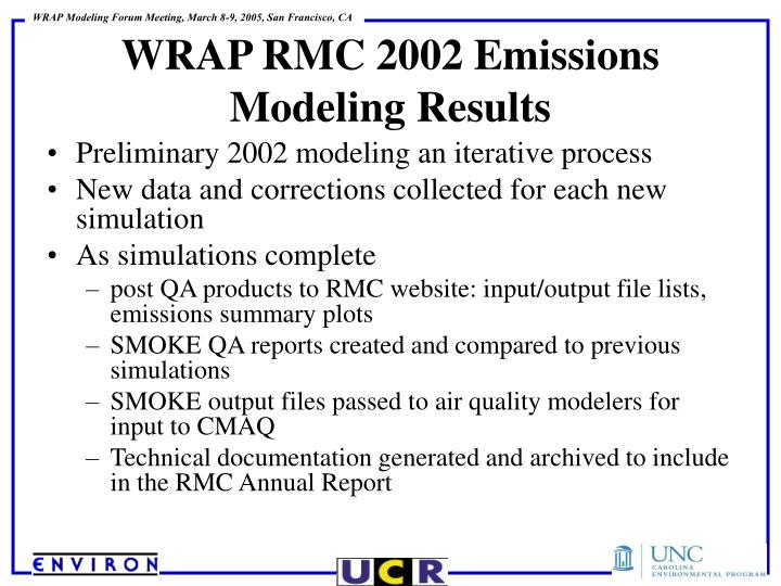 Preliminary 2002 modeling an iterative process