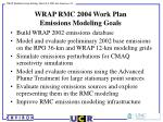 wrap rmc 2004 work plan emissions modeling goals