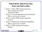 wrap rmc 2004 work plan tasks and deliverables