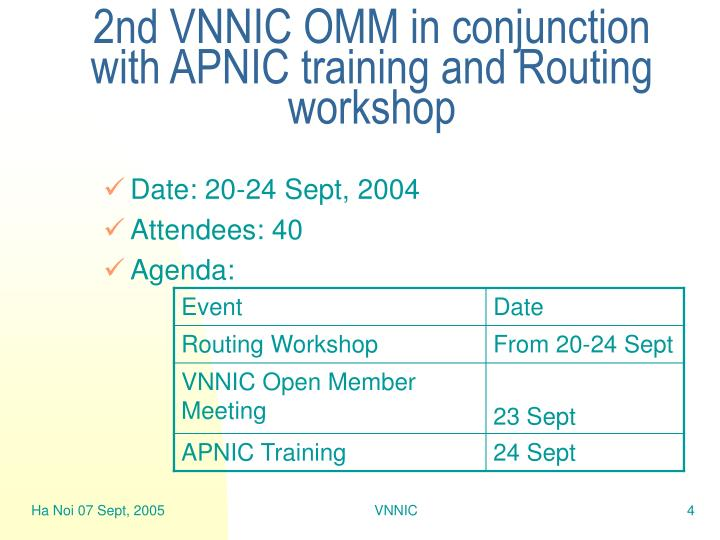 2nd VNNIC OMM in conjunction with APNIC training and Routing workshop