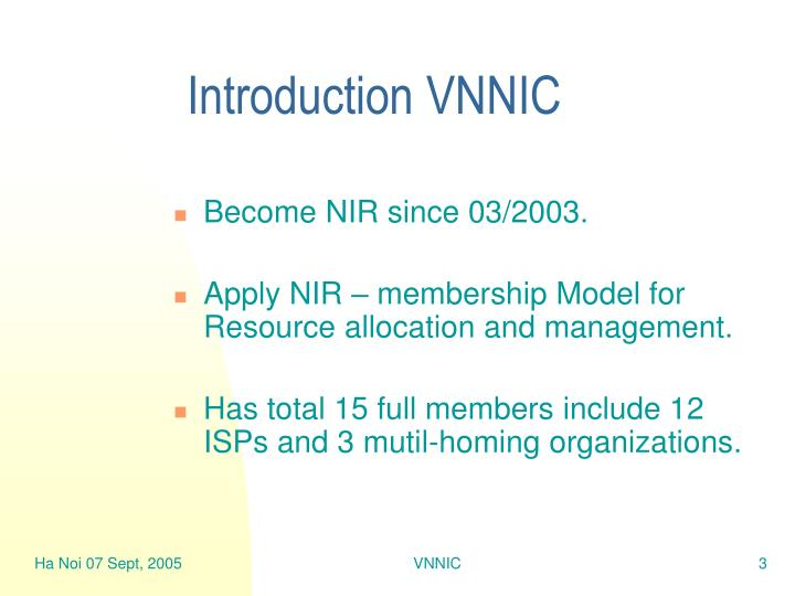 Introduction vnnic