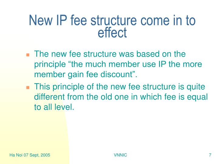 New IP fee structure come in to effect