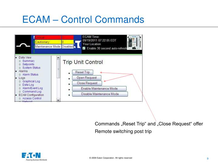 ECAM – Control Commands