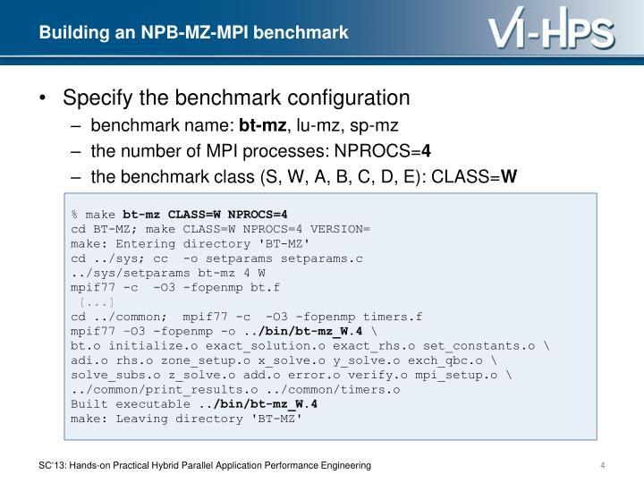 Building an NPB-MZ-MPI benchmark