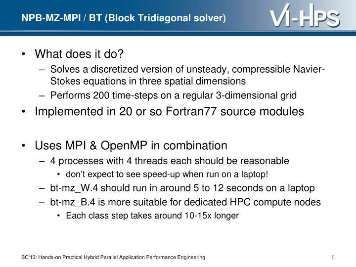 NPB-MZ-MPI / BT (Block Tridiagonal solver)