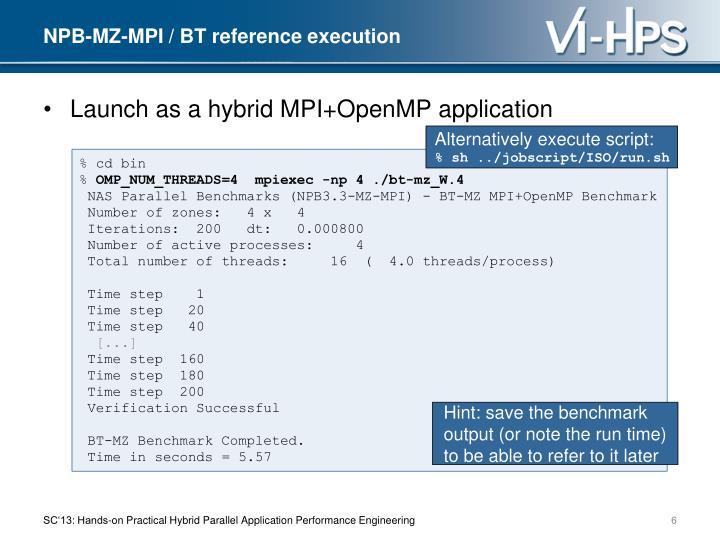 NPB-MZ-MPI / BT reference execution