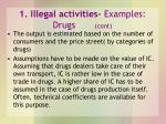 1 illegal activities examples drugs cont