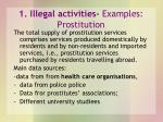 1 illegal activities examples prostitution