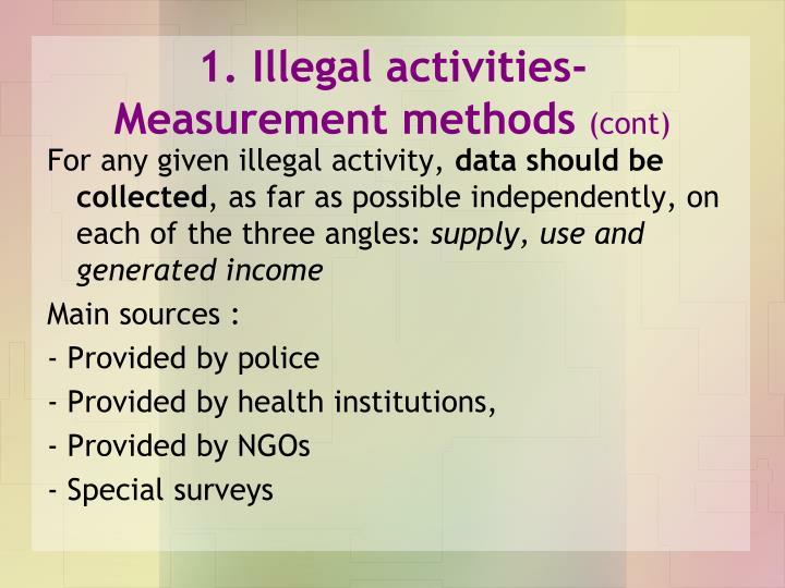 1. Illegal activities-Measurement methods