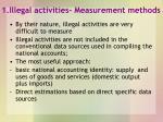 1 illegal activities measurement methods