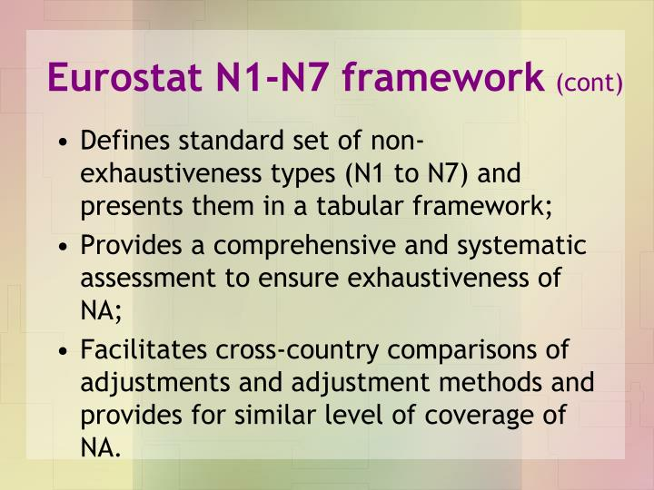 Eurostat N1-N7 framework