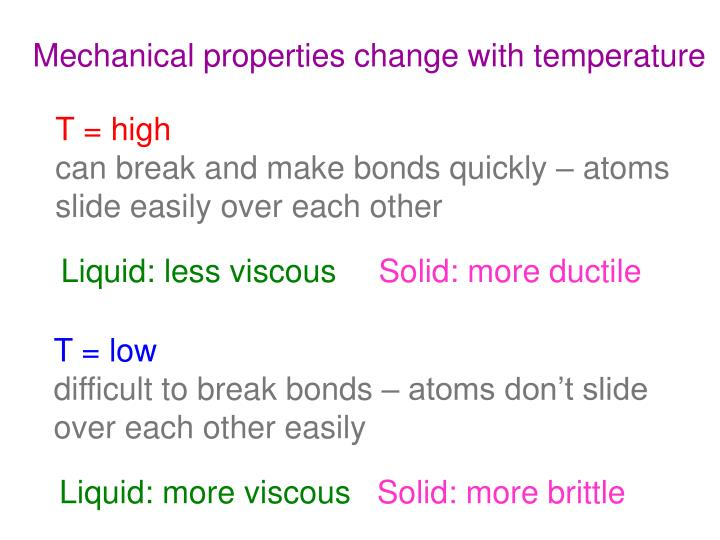 Mechanical properties change with temperature