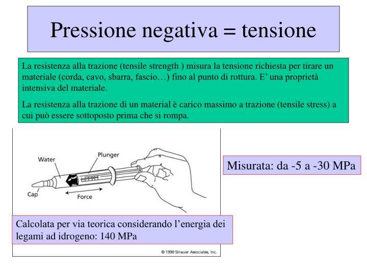 Pressione negativa = tensione