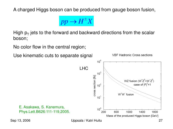 A charged Higgs boson can be produced from gauge boson fusion,