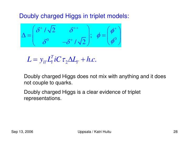 Doubly charged Higgs in triplet models: