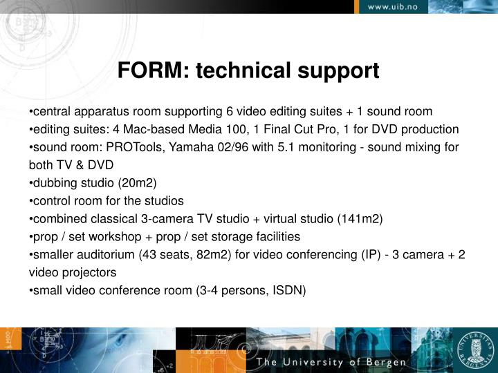 FORM: technical support