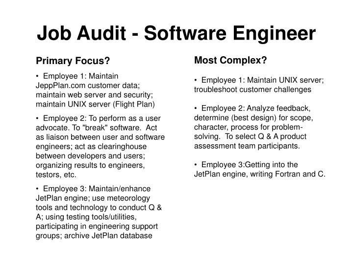 Job Audit - Software Engineer