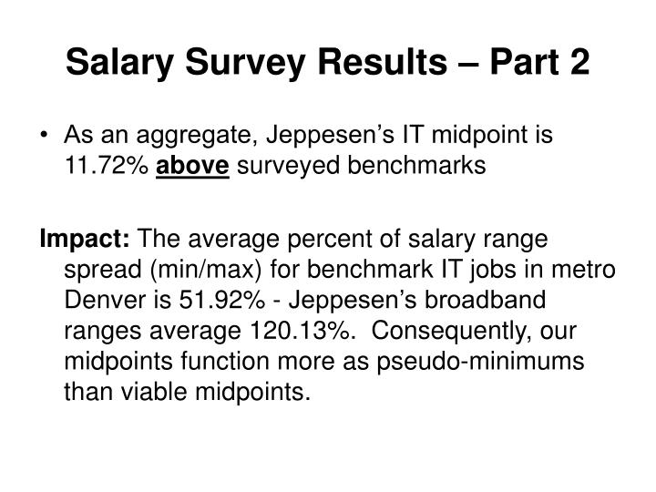 Salary Survey Results – Part 2
