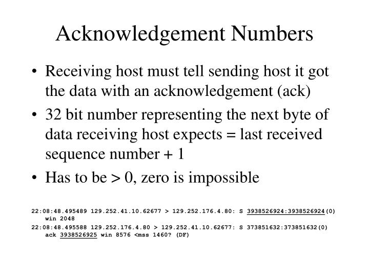 Acknowledgement Numbers