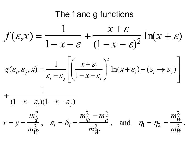 The f and g functions