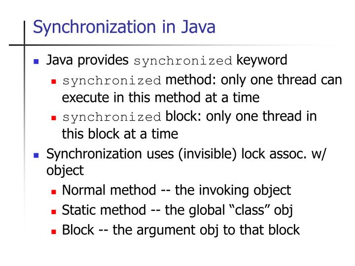 Synchronization in Java