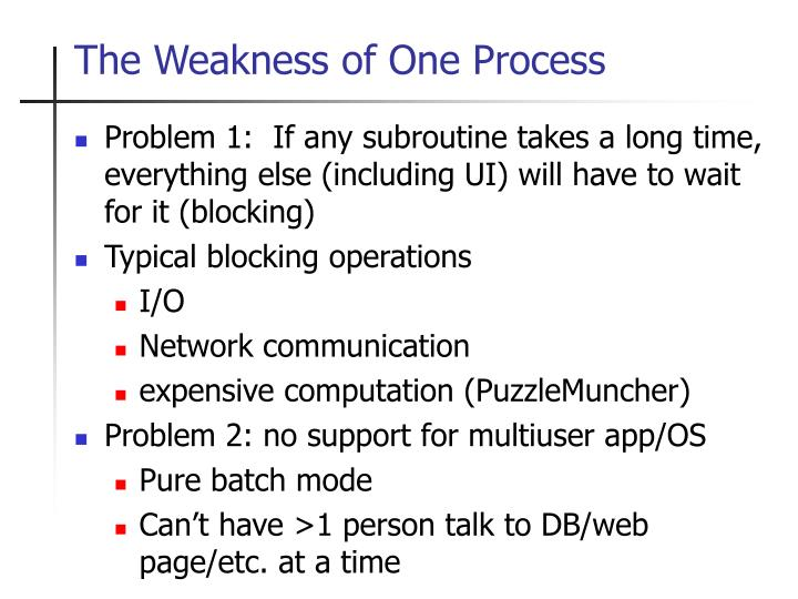 The Weakness of One Process