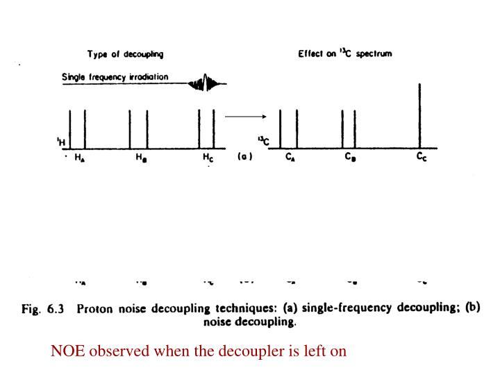 NOE observed when the decoupler is left on