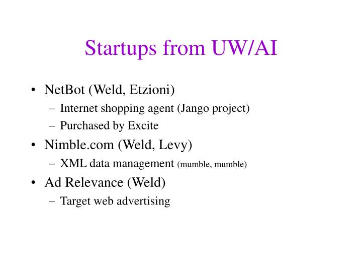 Startups from UW/AI
