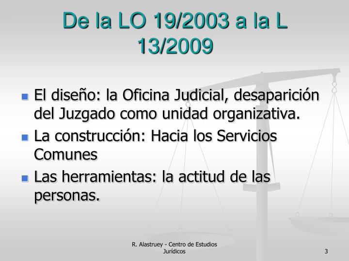 De la LO 19/2003 a la L 13/2009