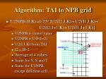 algorithm tai to npb grid1