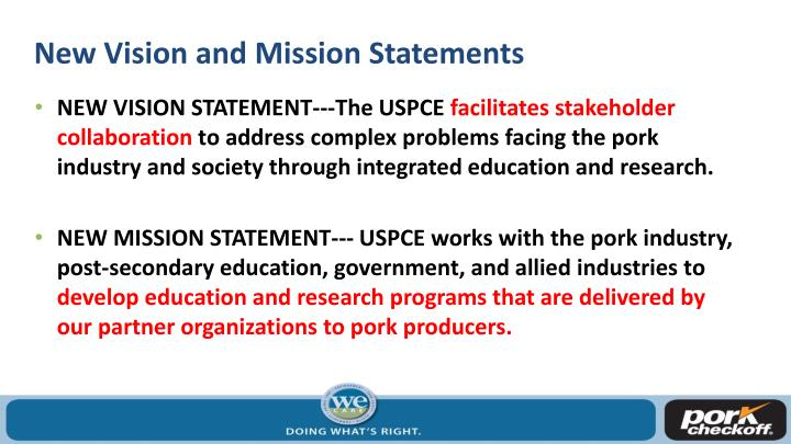 New Vision and Mission Statements