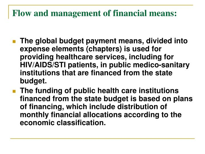 Flow and management of financial means