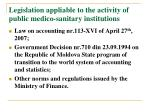 legislation appliable to the activity of public medico sanitary institutions