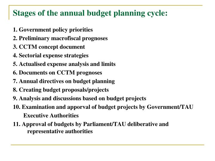 Stages of the annual budget planning cycle