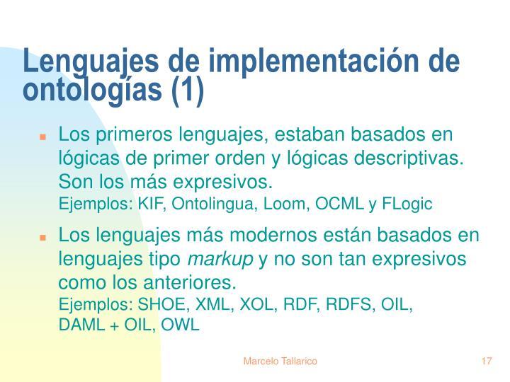 Lenguajes de implementación de ontologías (1)